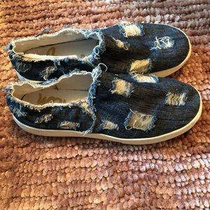 Sam Edelman Denim Ripped Sneakers